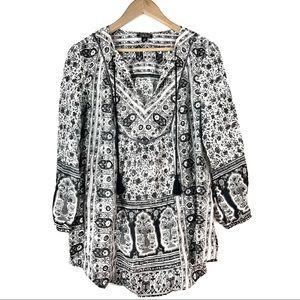 Lucky Brand Black White Boho Floral Tassel Tunic M